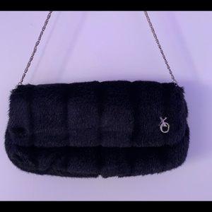 Black Furry Hand Bag